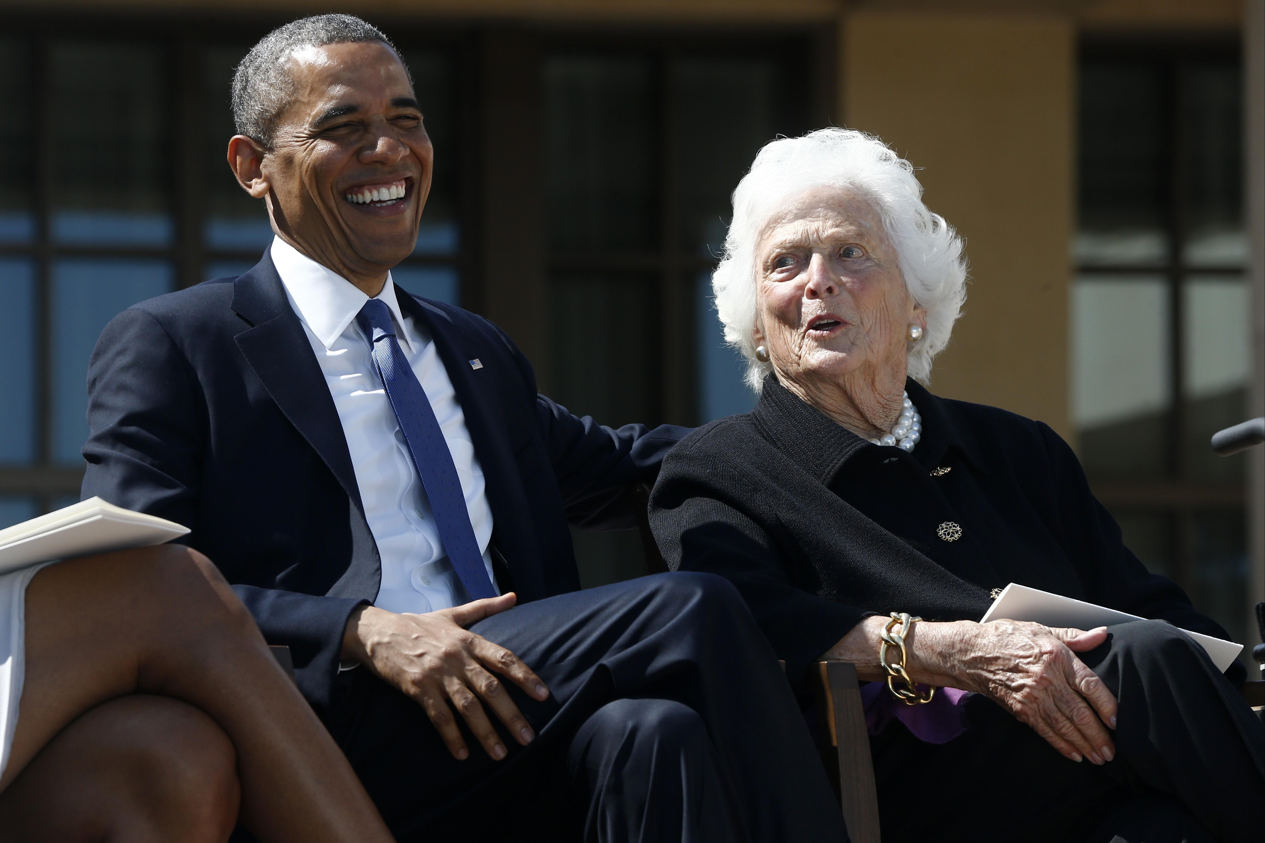 巴拉克·奥巴马,芭芭拉·布什2013年4月