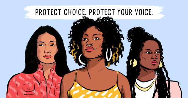 """三名妇女的例证,""""保护选择。保护你的声音。""""上面写的。"""