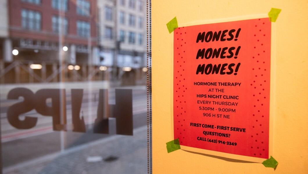 在D.C.的HIPS办公室的墙上可以看到关于激素疗法的标志。