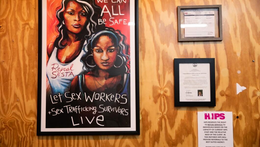 本文展示了HIPS宣传反对SESTA并支持性工作者和性交易幸存者的海报。