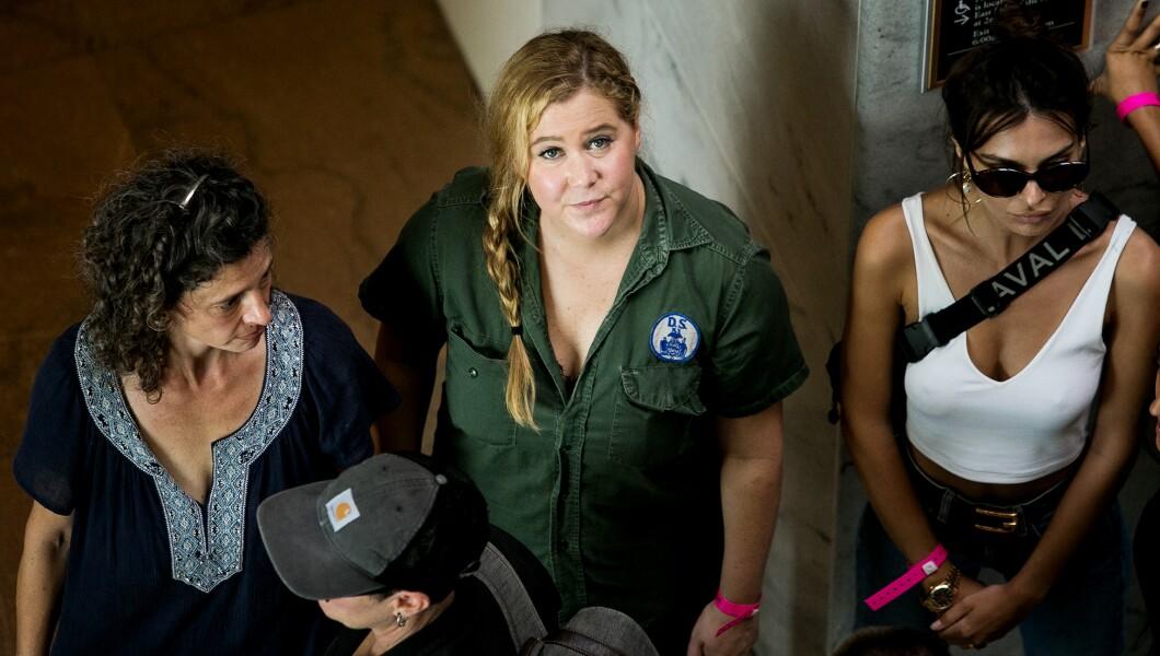 华盛顿特区国会山的其他抗议者可以看到Amy Schumer(如图中)和Emily Ratajkowski(右)。