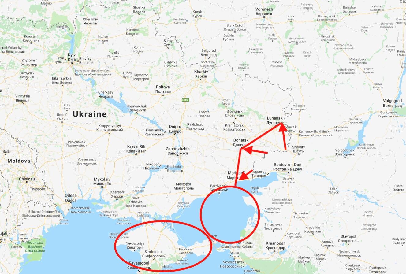 东乌克兰和俄罗斯的地图 -  042419