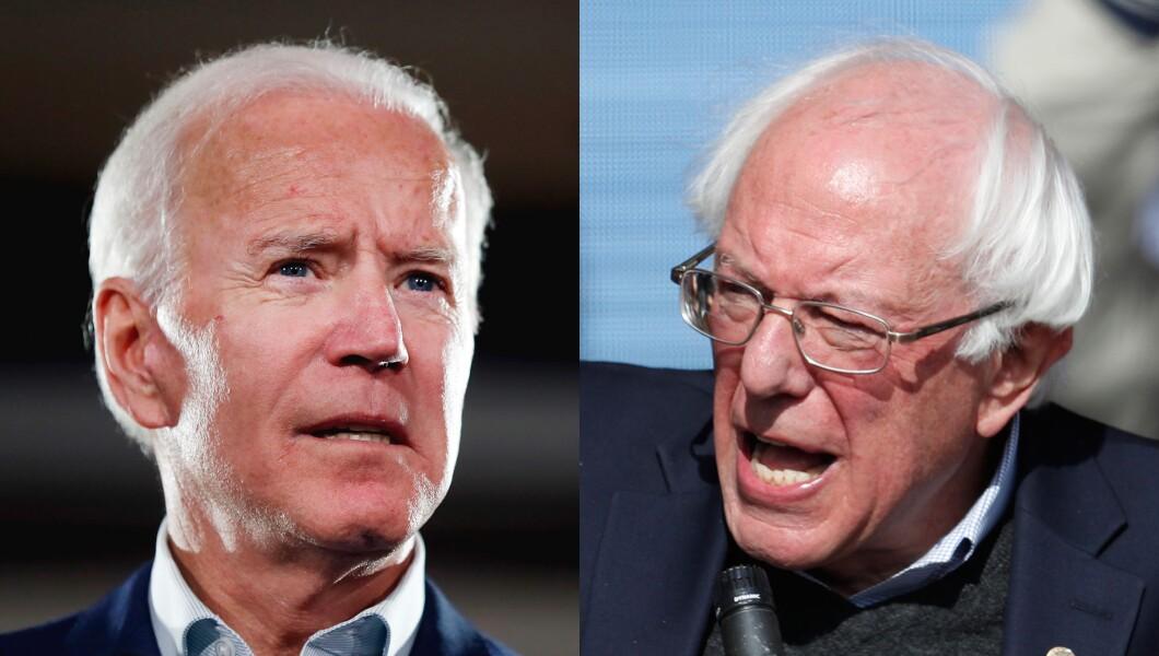 Former Vice President Joe Biden (left) and Sen. Bernie Sanders (right) are pictured.