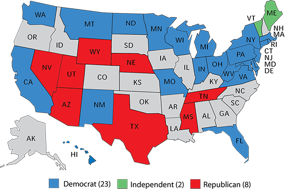 Republican Democratic State Map.Sabato Senate Democrats Out Of Power To 2024 Or Longer