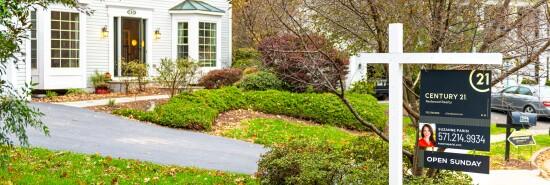 Open house sunday real estate sign street in Fairfax County, Virginia neighborhood Century 21 agent