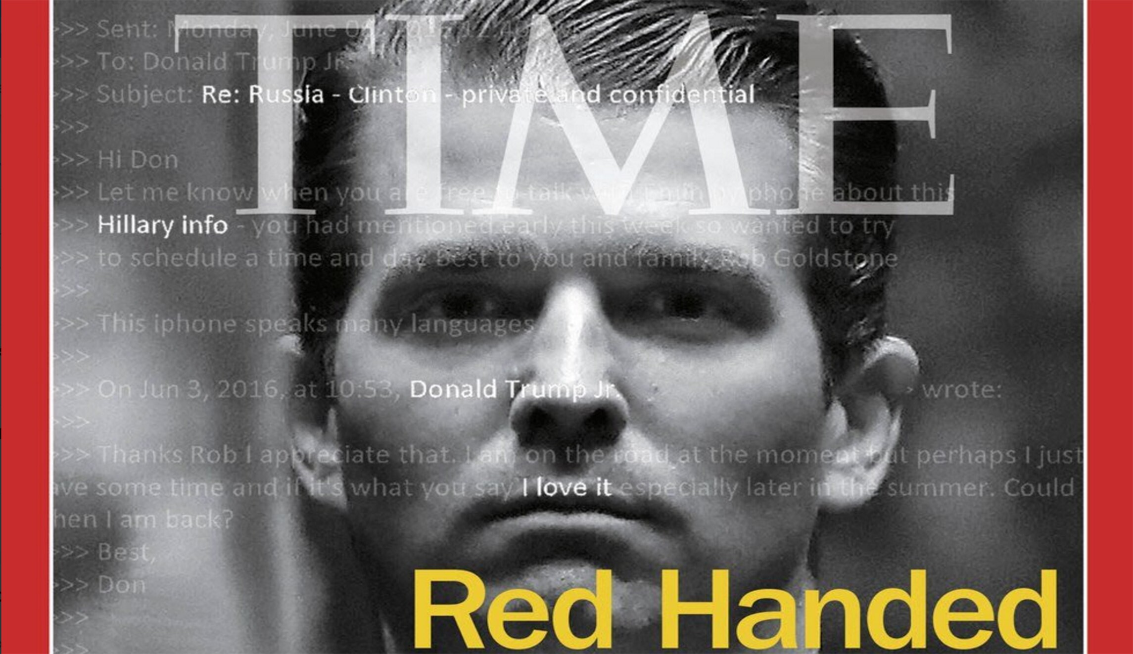 donald trump jr featured 39 red handed 39 on time magazine cover. Black Bedroom Furniture Sets. Home Design Ideas