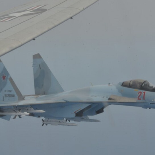 Unsafe Unprofessional Interception of a U.S. Navy P8 by Russian SU-35s over the Mediterranean Sea