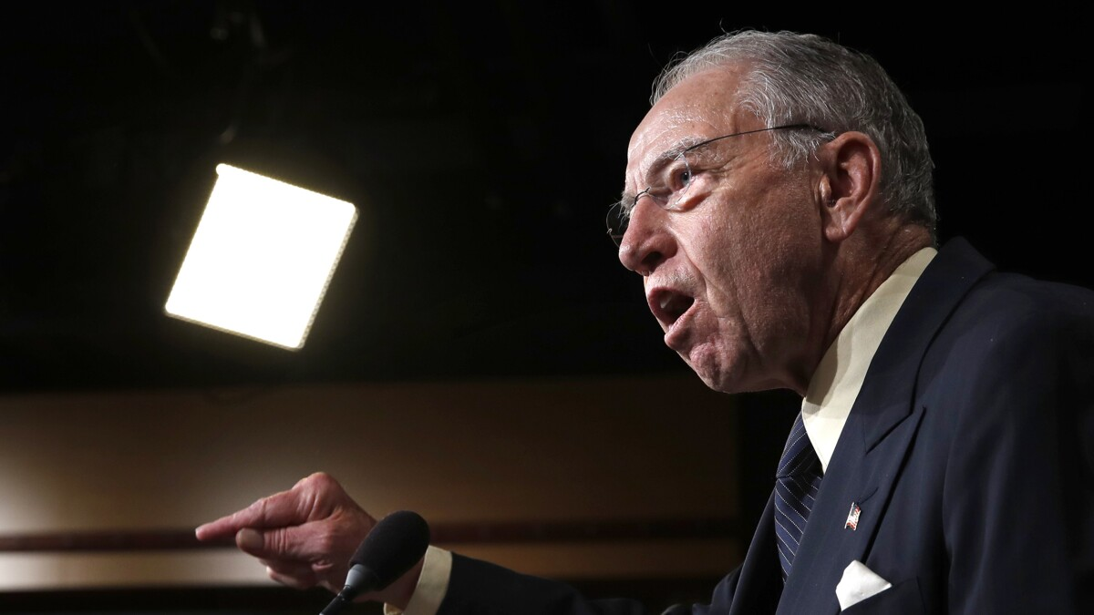 Chuck Grassley asks if FBI informant used Pentagon contract money to spy on Trump campaign