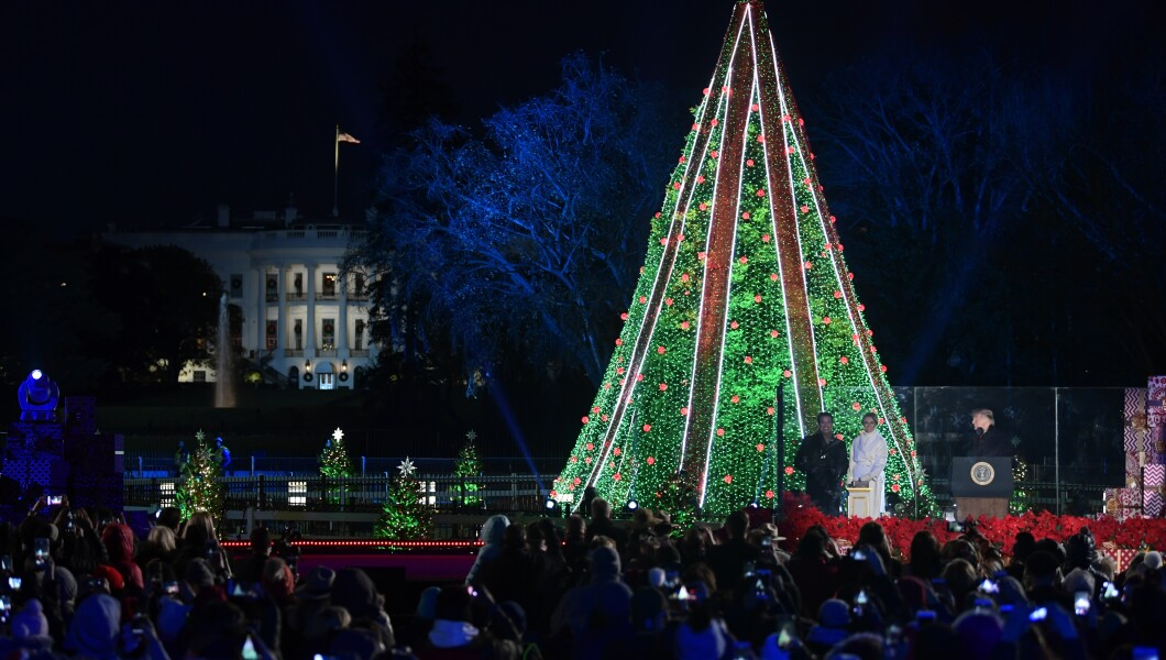 National Christmas Tree Lighting.See President Trump And Family Light National Christmas Tree