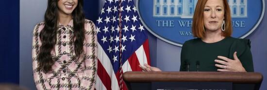 White House press secretary Jen Psaki speaks about teen pop star Olivia Rodrigo.