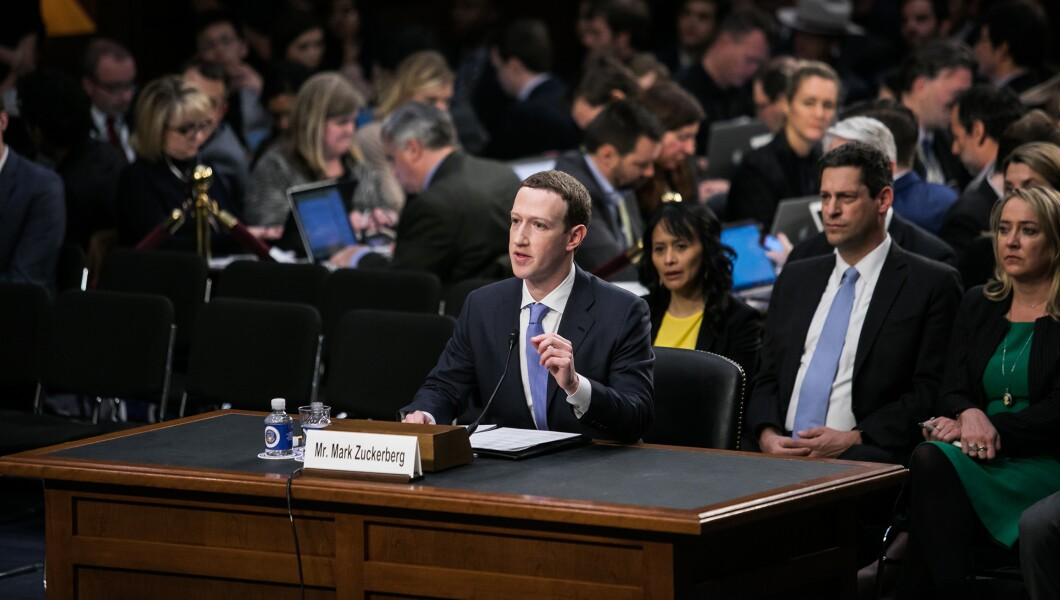 Facebook CEO Mark Zuckerberg testifies before a joint hearing of the Commerce and Judiciary Committees on Capitol Hill, Tuesday, April 10, 2018, about the use of Facebook data to target American voters in the 2016 presidential election.