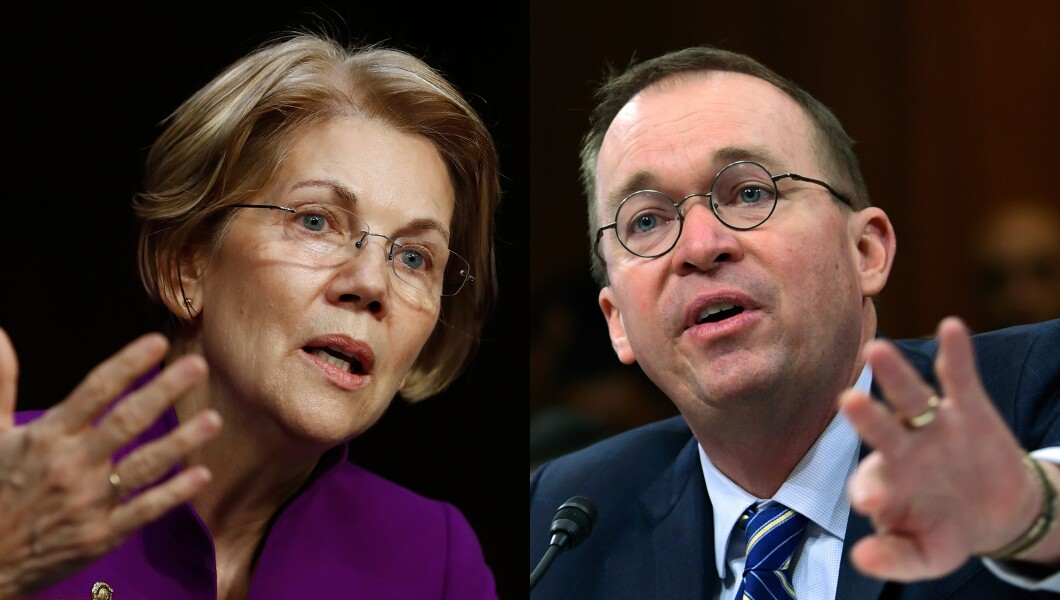 Elizabeth Warren and Mick Mulvaney