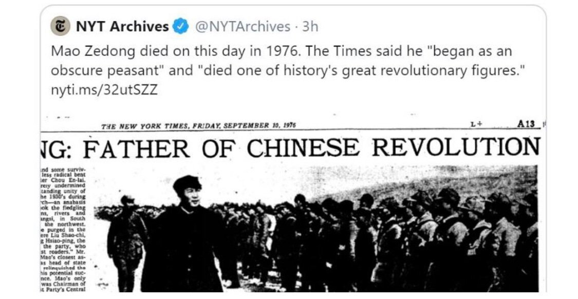 <i>New York Times</i> deletes tweet calling Mao Zedong 'one of history's great revolutionary figures'