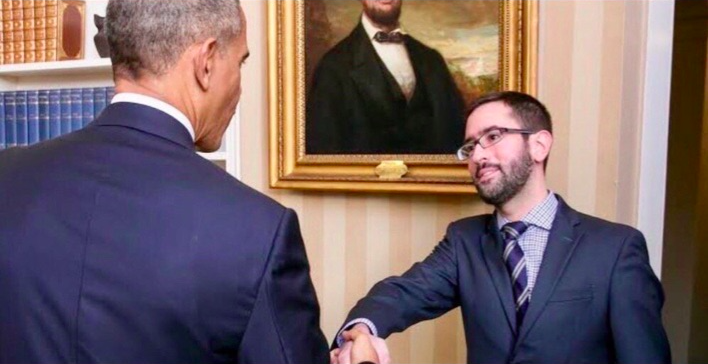 Ukraine specialist Eric Ciaramella poses for a photo with former President Barack Obama at the White House. The photo was published on the website for a friend's 2018 wedding.