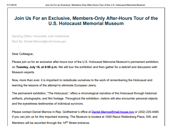 Bipartisan congressional group to lead private tour of Holocaust Memorial Museum