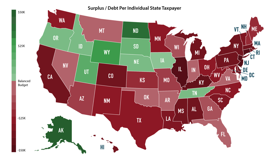 America Map Of States.State Debt By The Map How Does Your State Compare