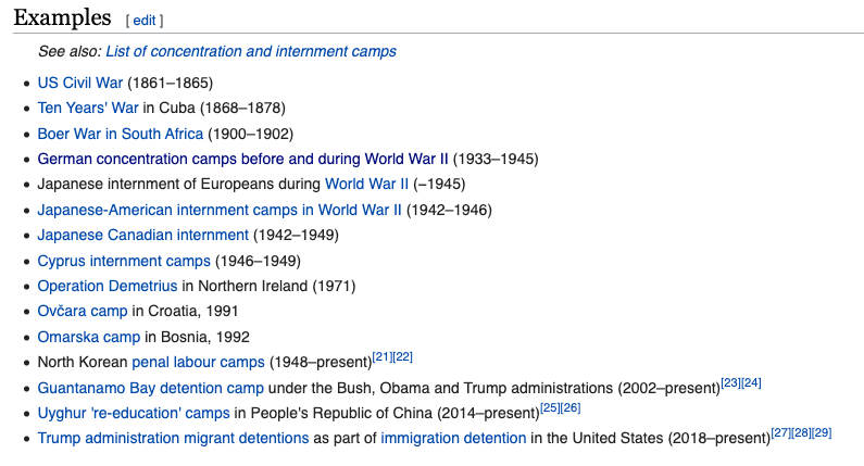 Trump's detention facilities show up on Wikipedia's list of internment and concentration camps