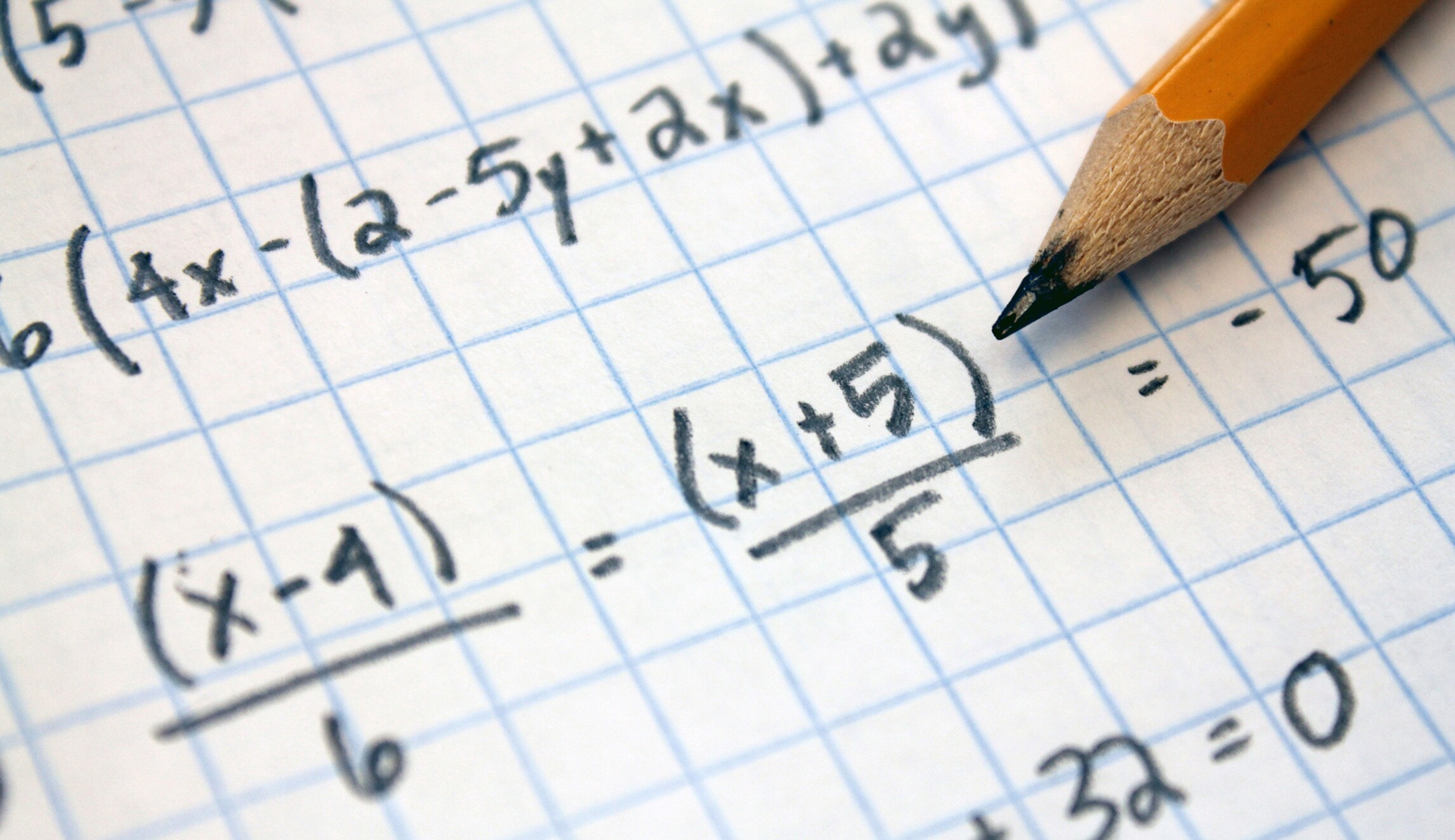 Image of a student doing algebra.