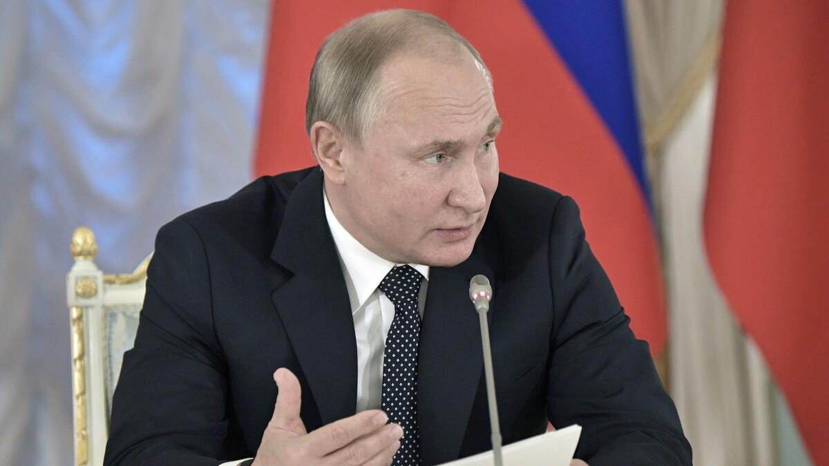 Russian President Vladimir Putin speaks at meeting with cultural advisers in St. Petersburg, Russia.