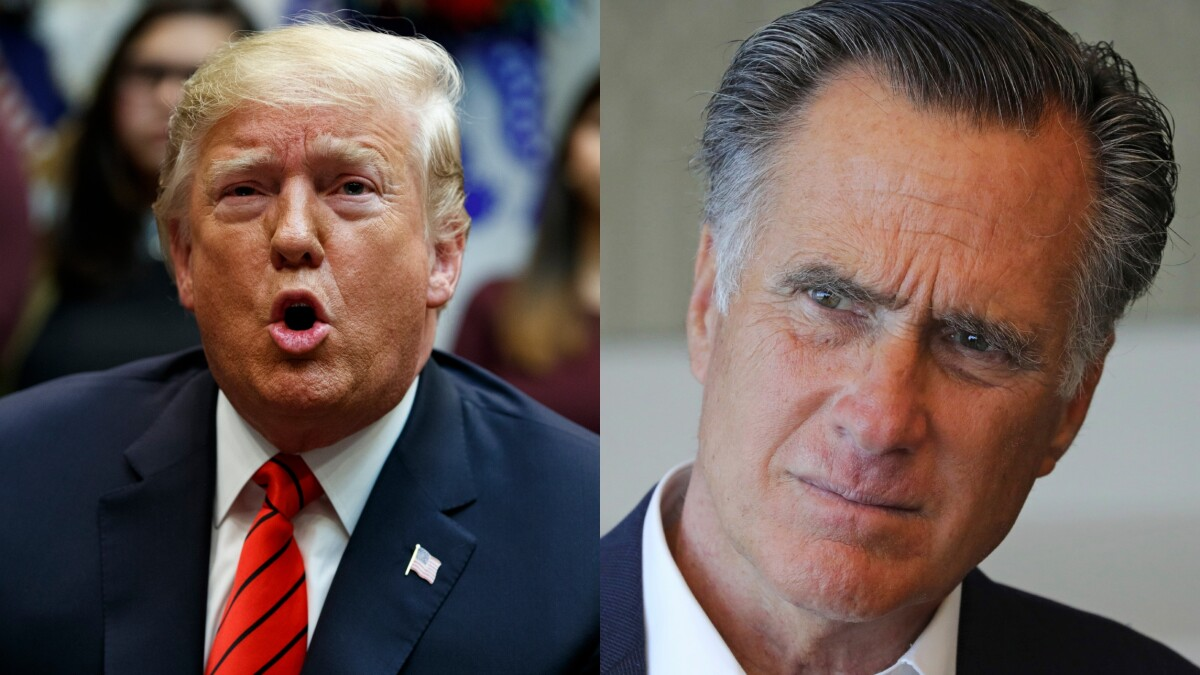 Trump tells Republicans to 'stick together' as he promotes Romney attack ad