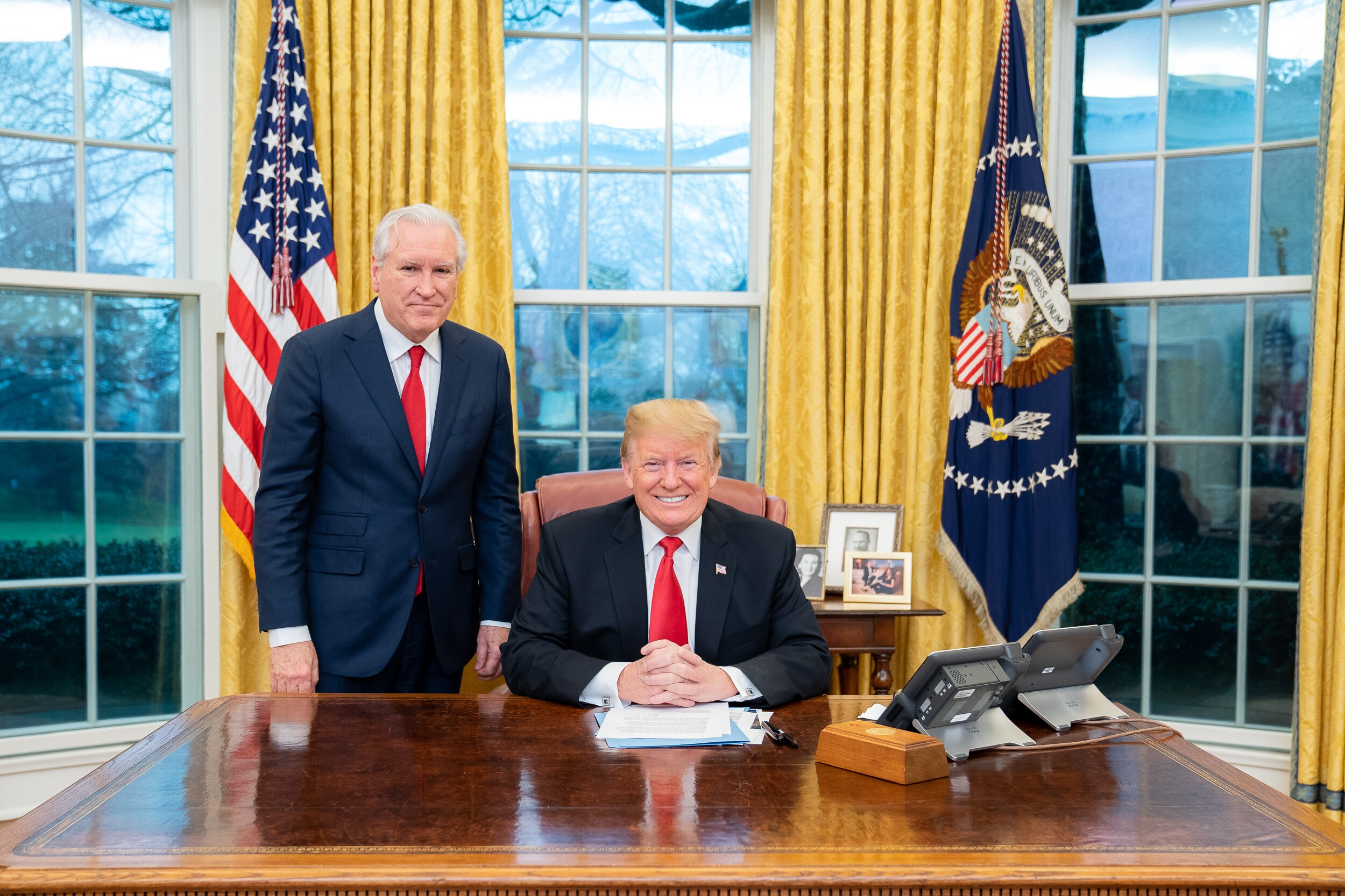President Trump (seated) meets with Doug Wead in the Oval Office of the White House. Wead provided the photo to Secrets.