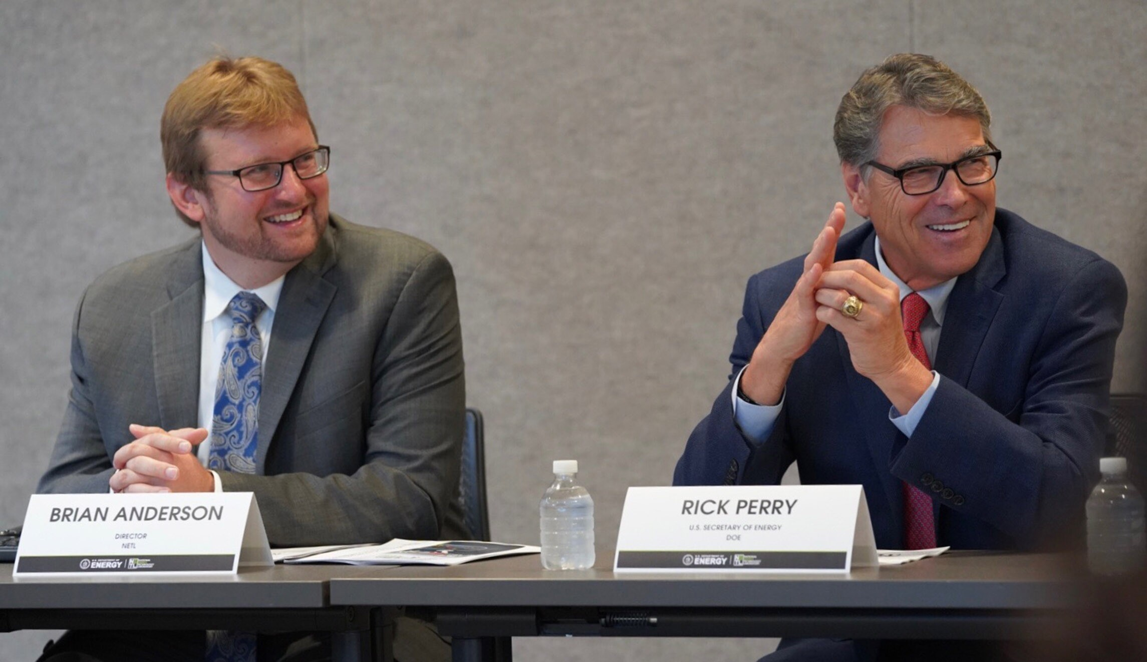 Energy Secretary Rick Perry (right) is seen with Brian Anderson, director of the National Energy Technology Laboratory , in Jefferson Hills, Pennsylvania.