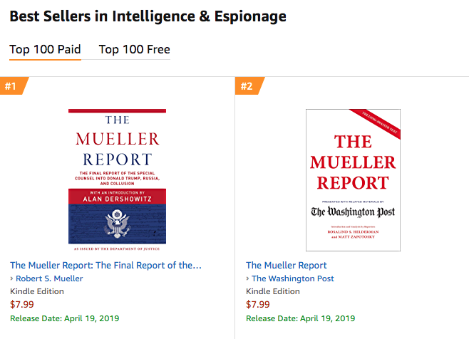 Amazon: Mueller report already No. 1