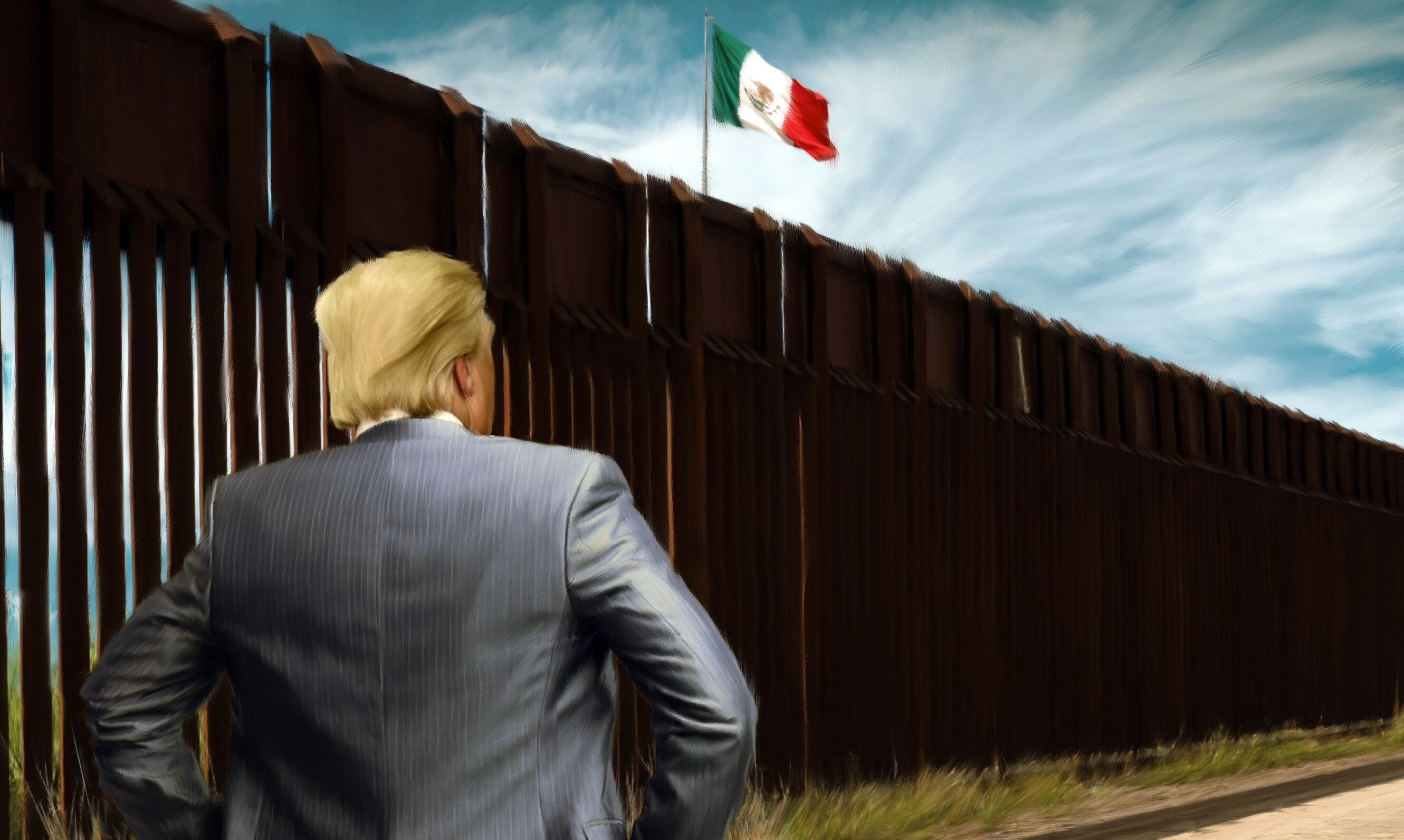 Image result for photo of president trump at the wall