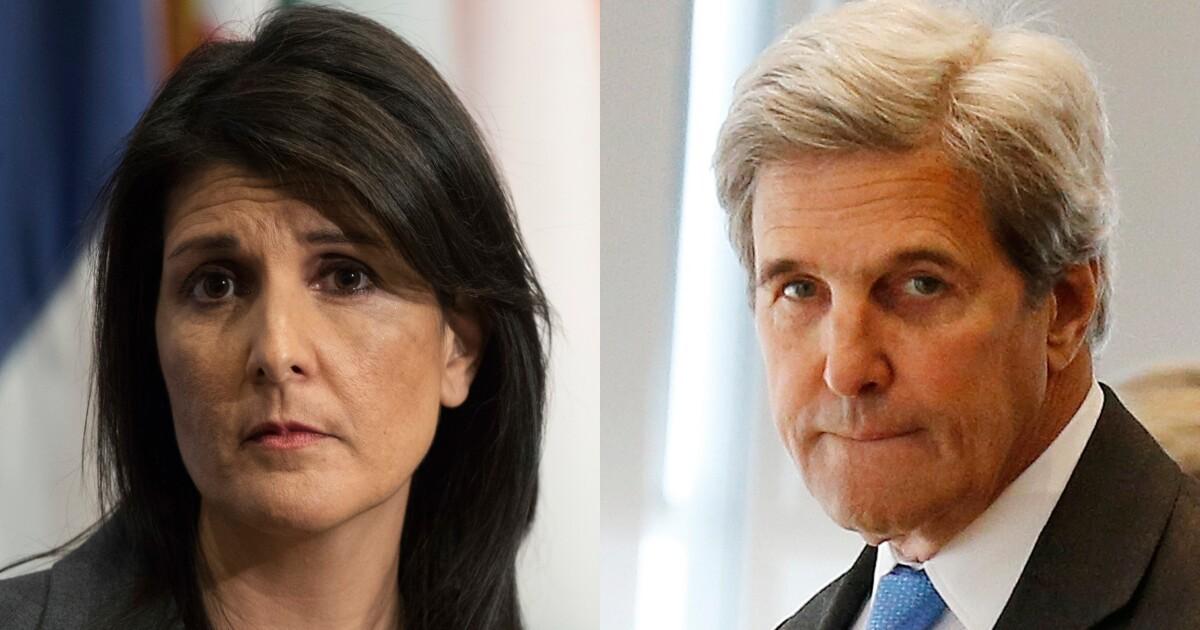 Hasil gambar untuk Nikki Haley: John Kerry's secret talks with Iran are 'anti-American'