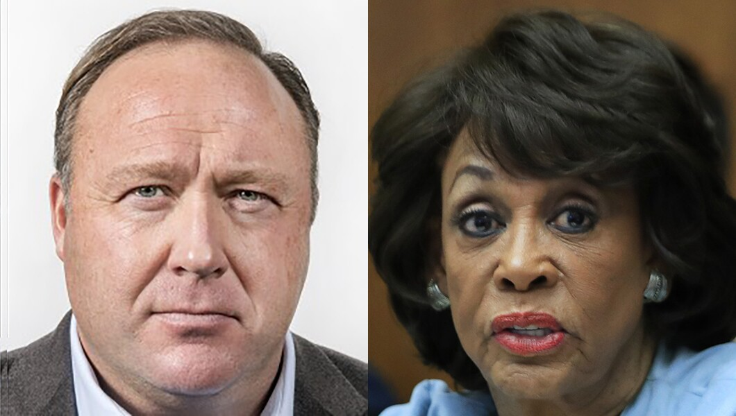 Image result for images of maxine waters and alex jones