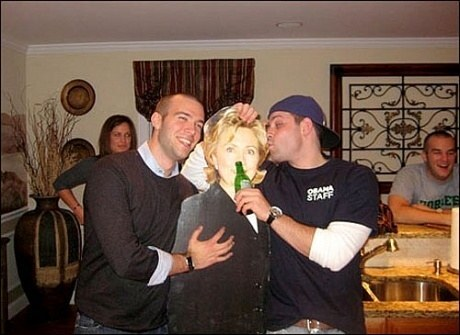 Image result for tommy vietor jon favreau hillary clinton cutout