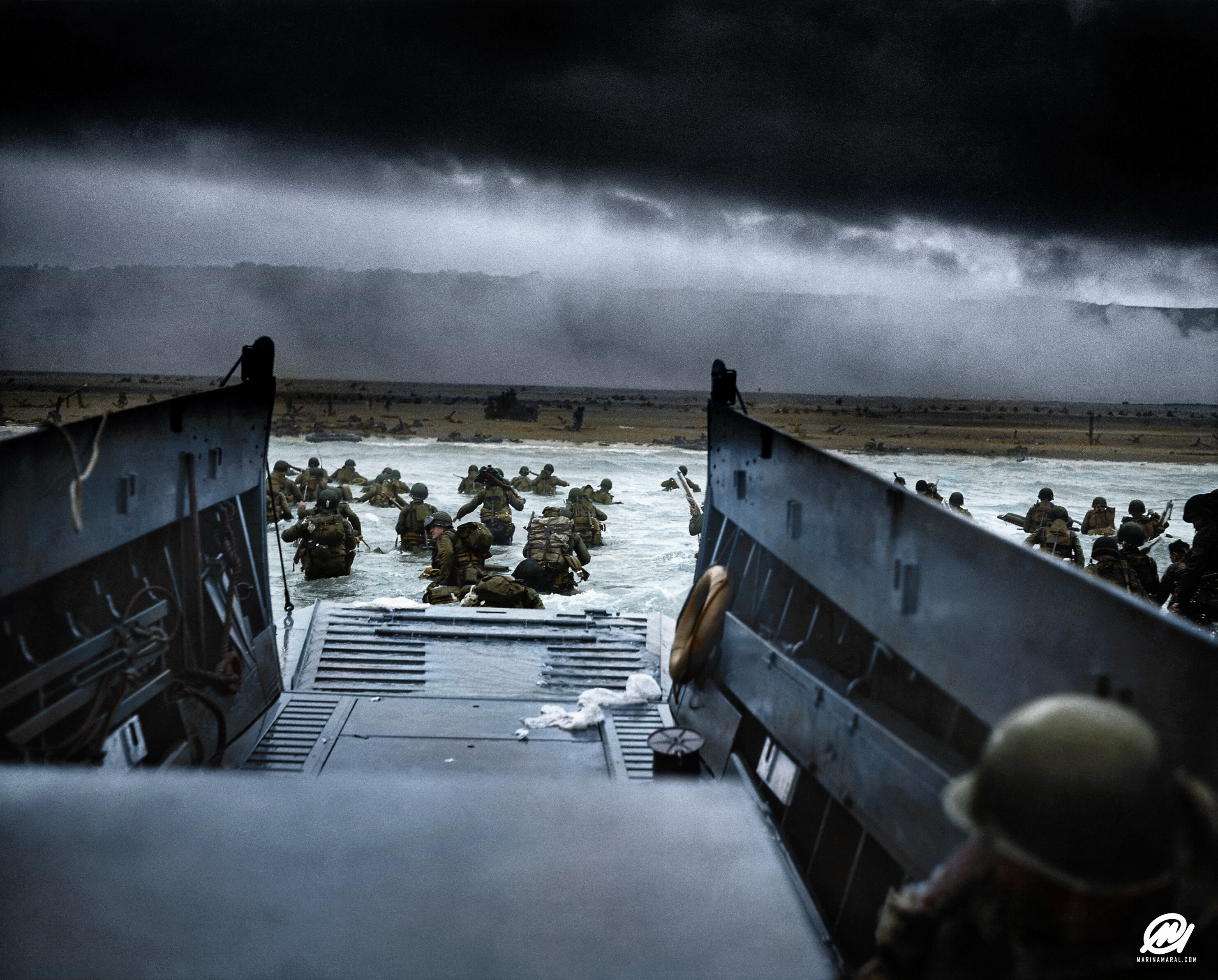 See iconic D-Day black and white photos brought to life in color