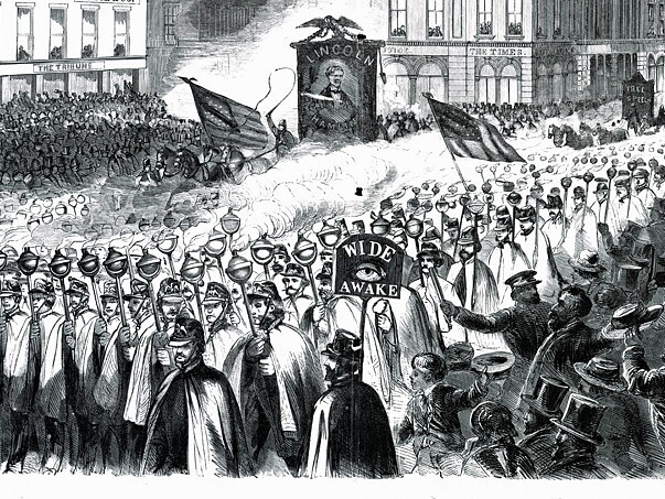 Wide Awakes hold a procession in New York on Oct. 3, 1860.