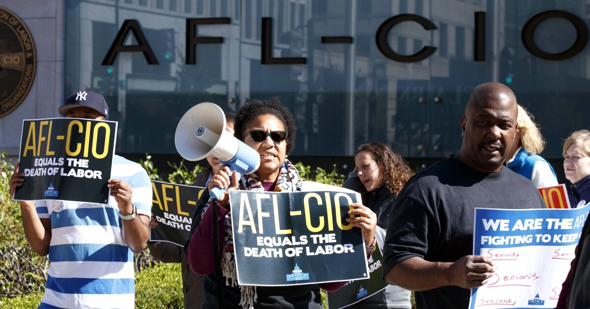 Office workers union protests AFL-CIO, stages 'funeral for collective bargaining'