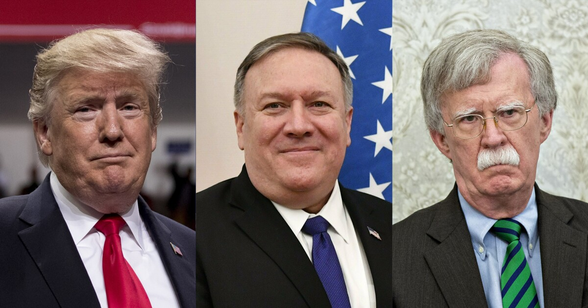 Image result for pompeo and bolton