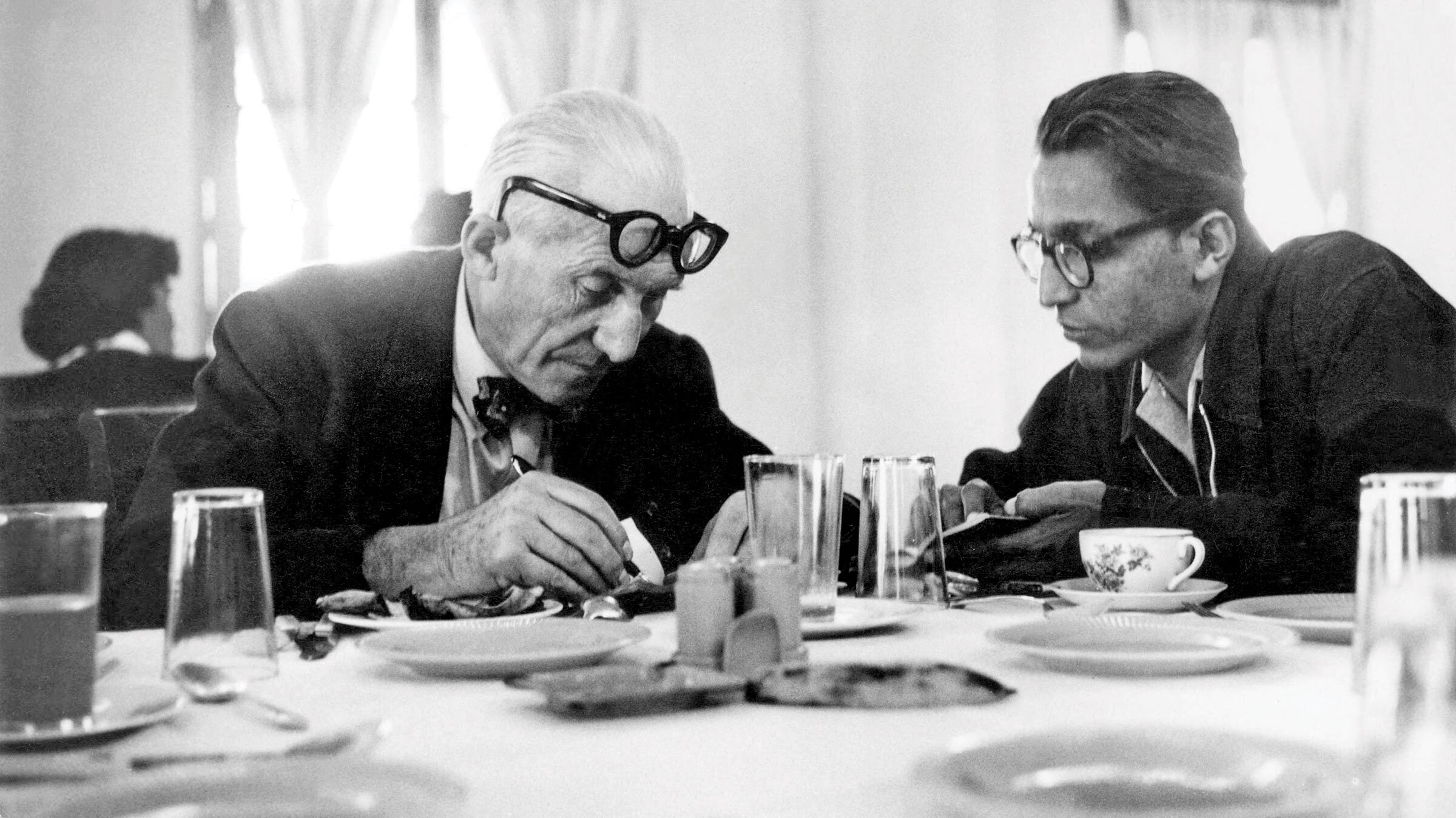 Doshi (right) worked with Le Corbusier on the massive Chandigarh project.