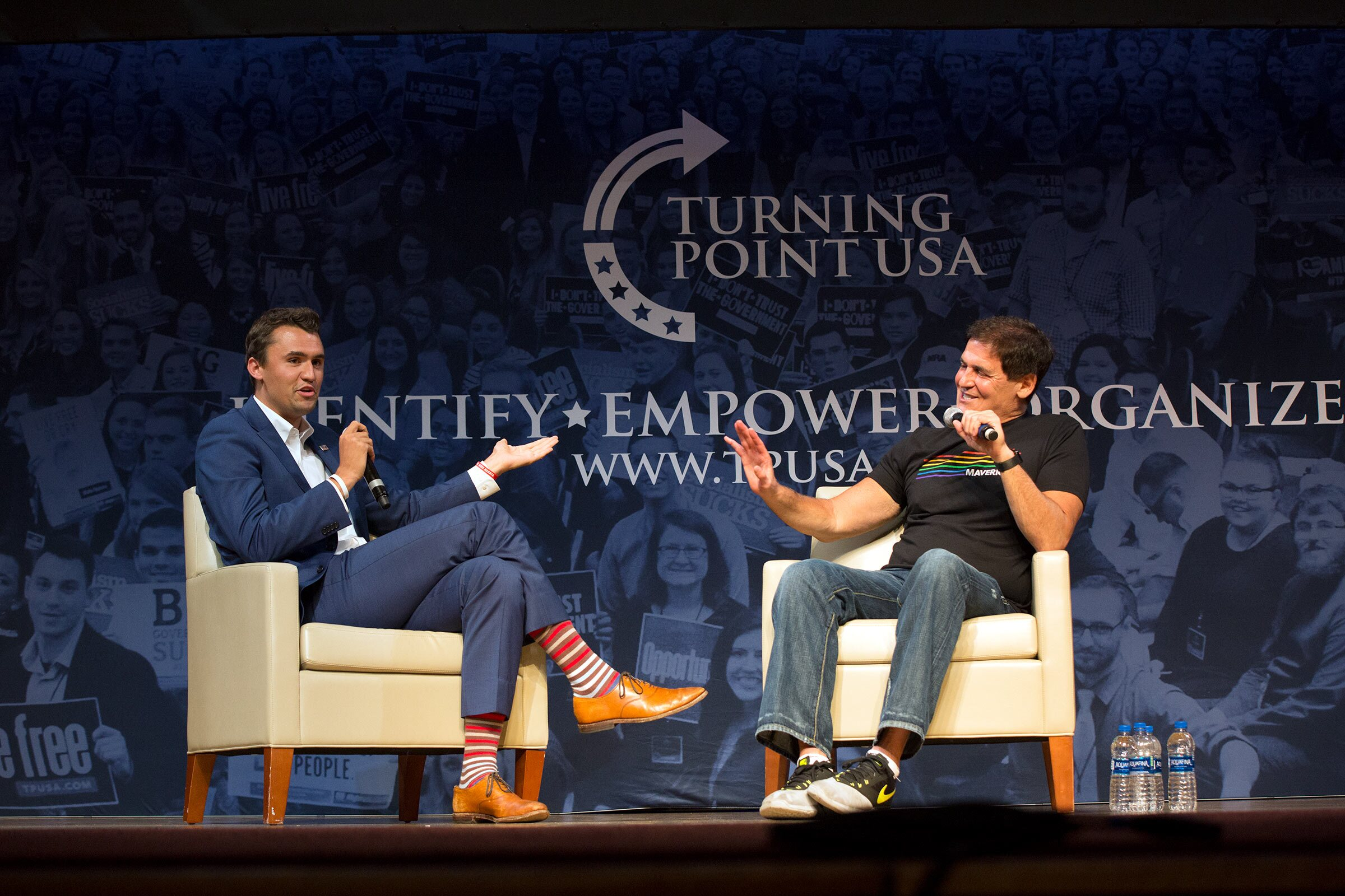 c57f28f94fef2 Mark Cuban (right) sparring with Turning Point USA founder Charlie Kirk