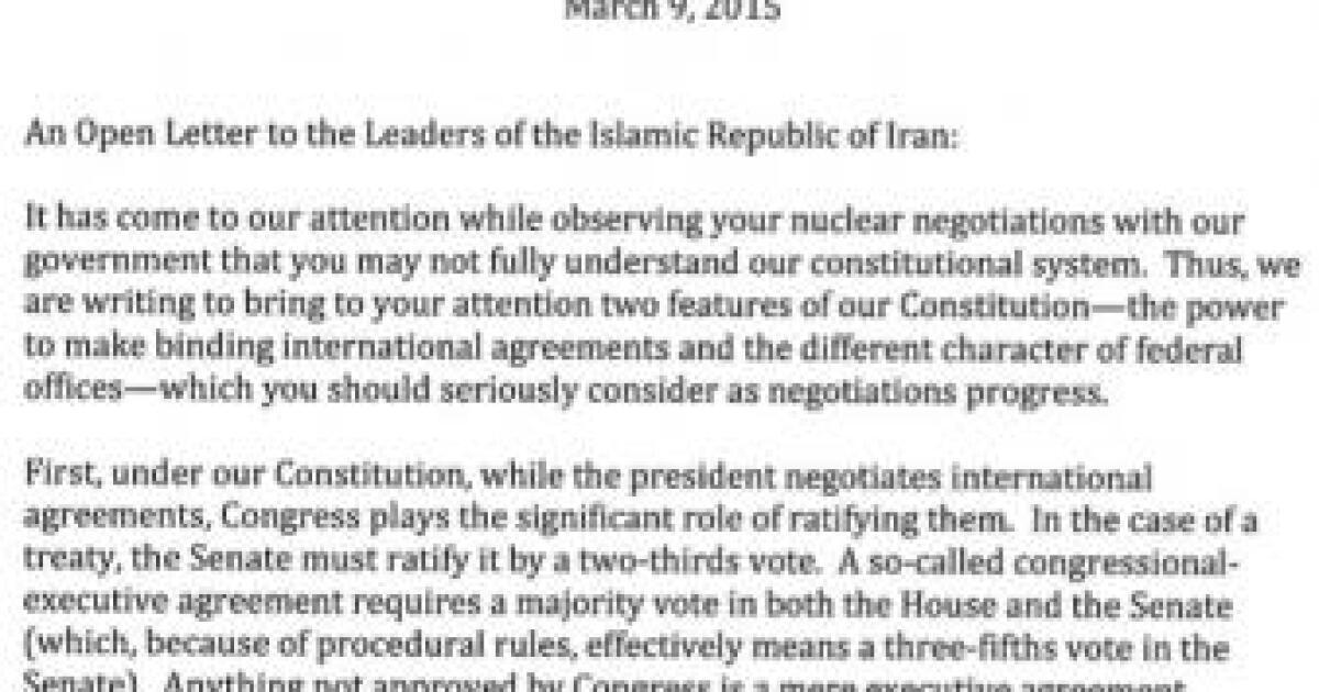 Republican Senators Write To Iran Deal With Obama Can Be Revoked