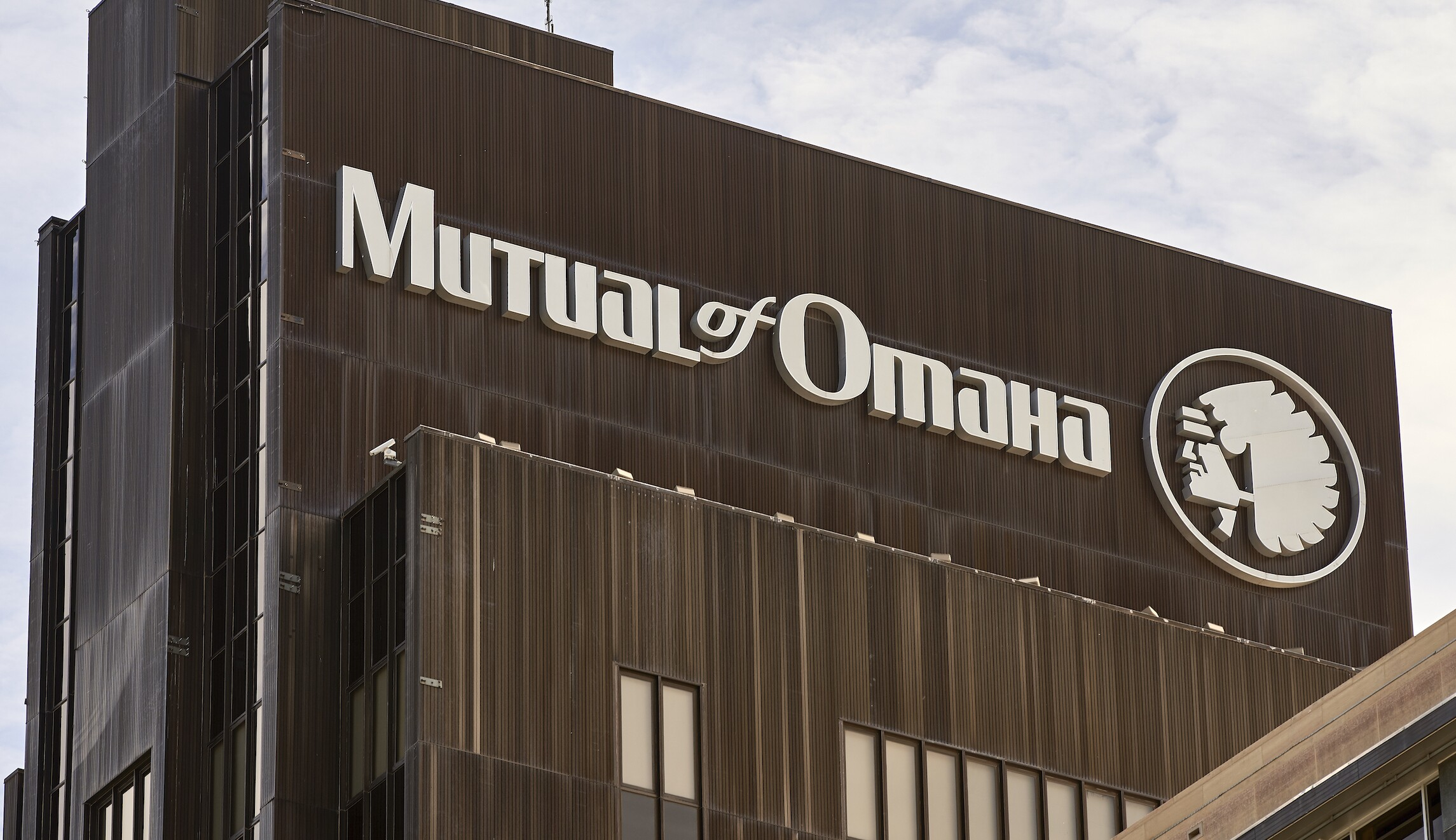 The Mutual of Omaha logo is seen at the company's corporate headquarters in Omaha, Nebraska, on Friday. Insurance company Mutual of Omaha has announced it will replace its longtime corporate logo, which features a depiction of a Native American chief.