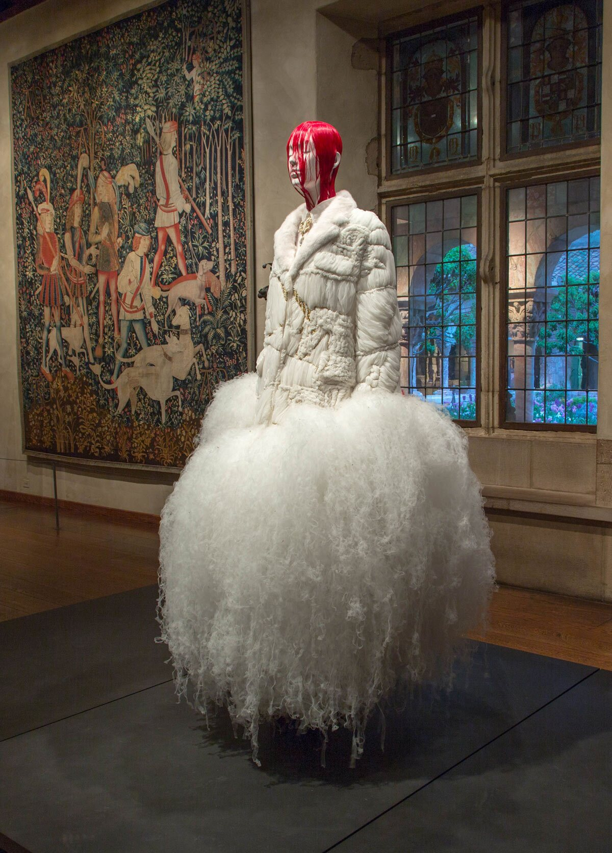 A wedding dress designed by Thom Browne this year, with wig by Shay Ashual.