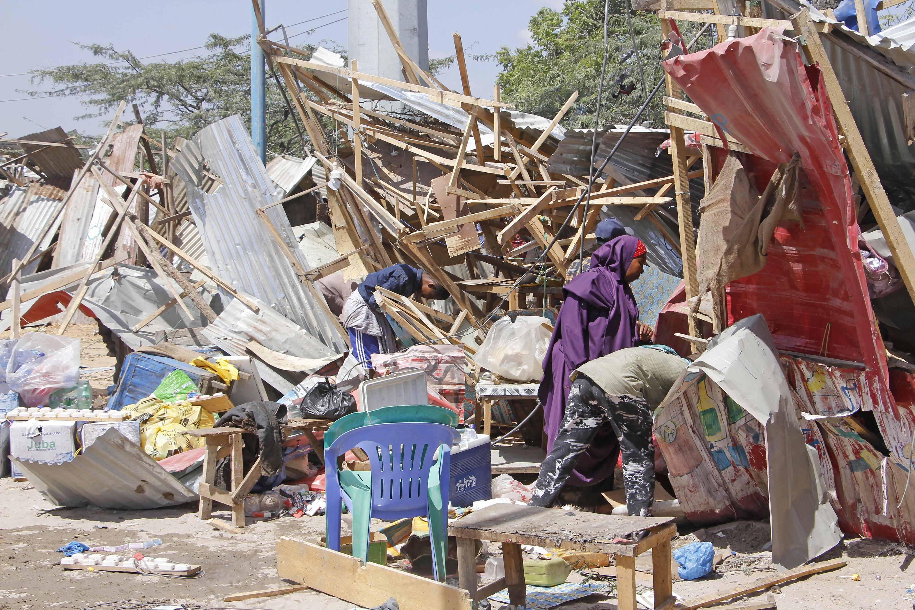 Destruction from bomb blast