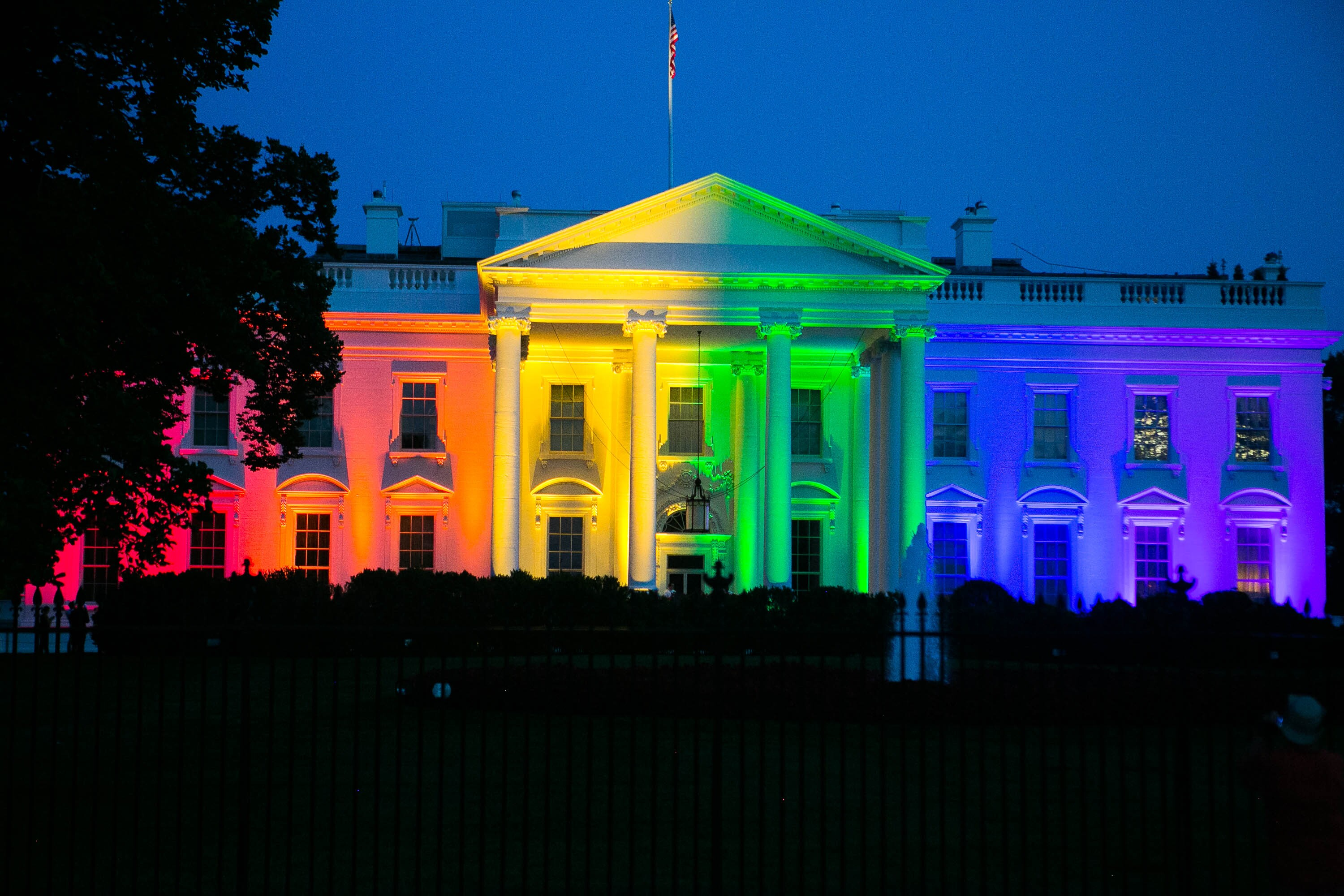 Image result for obama lights up white house in rainbow colors