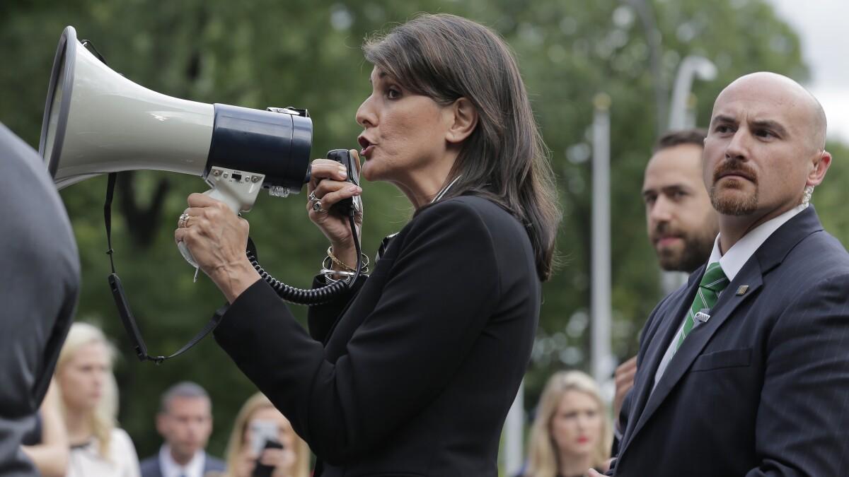 Nikki Haley joins megaphone protest against Venezuela's Maduro