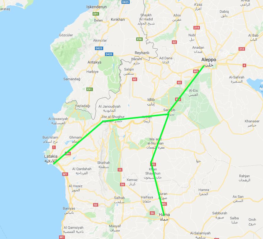 Tratto dell'autostrada M4 (a sinistra) che collega Latakia ad Aleppo e della M5 (a destra) che collega Damasco/Hama ad Aleppo. Credit to: Tom Rogan.