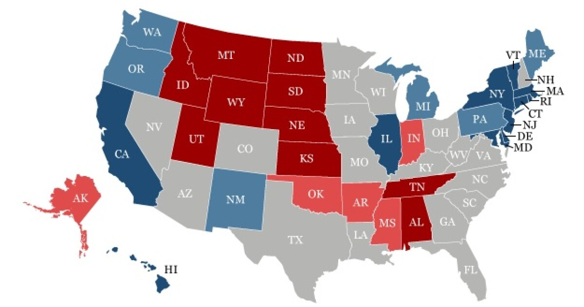 The 18 most politically petitive states in America in one map