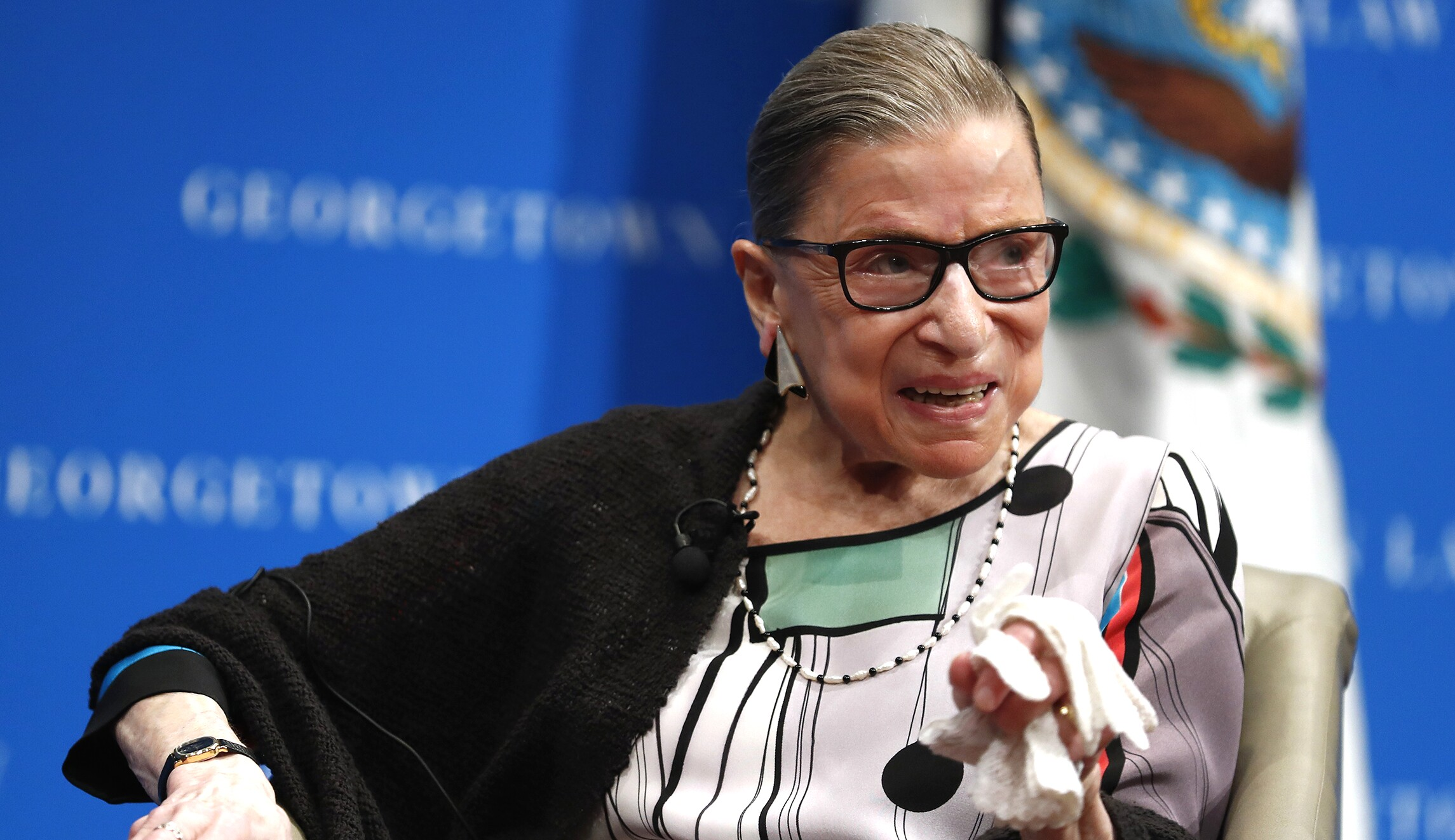Supreme Court Justice Ruth Bader Ginsburg speaks at the Georgetown University Law Center campus in Washington, D.C.