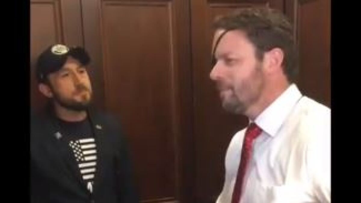 Activist veterans hound Dan Crenshaw in elevator for supporting Trump