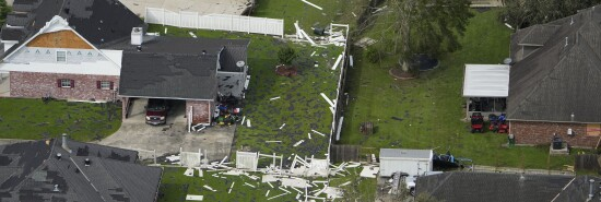 Damaged homes are seen in the aftermath of Hurricane Ida