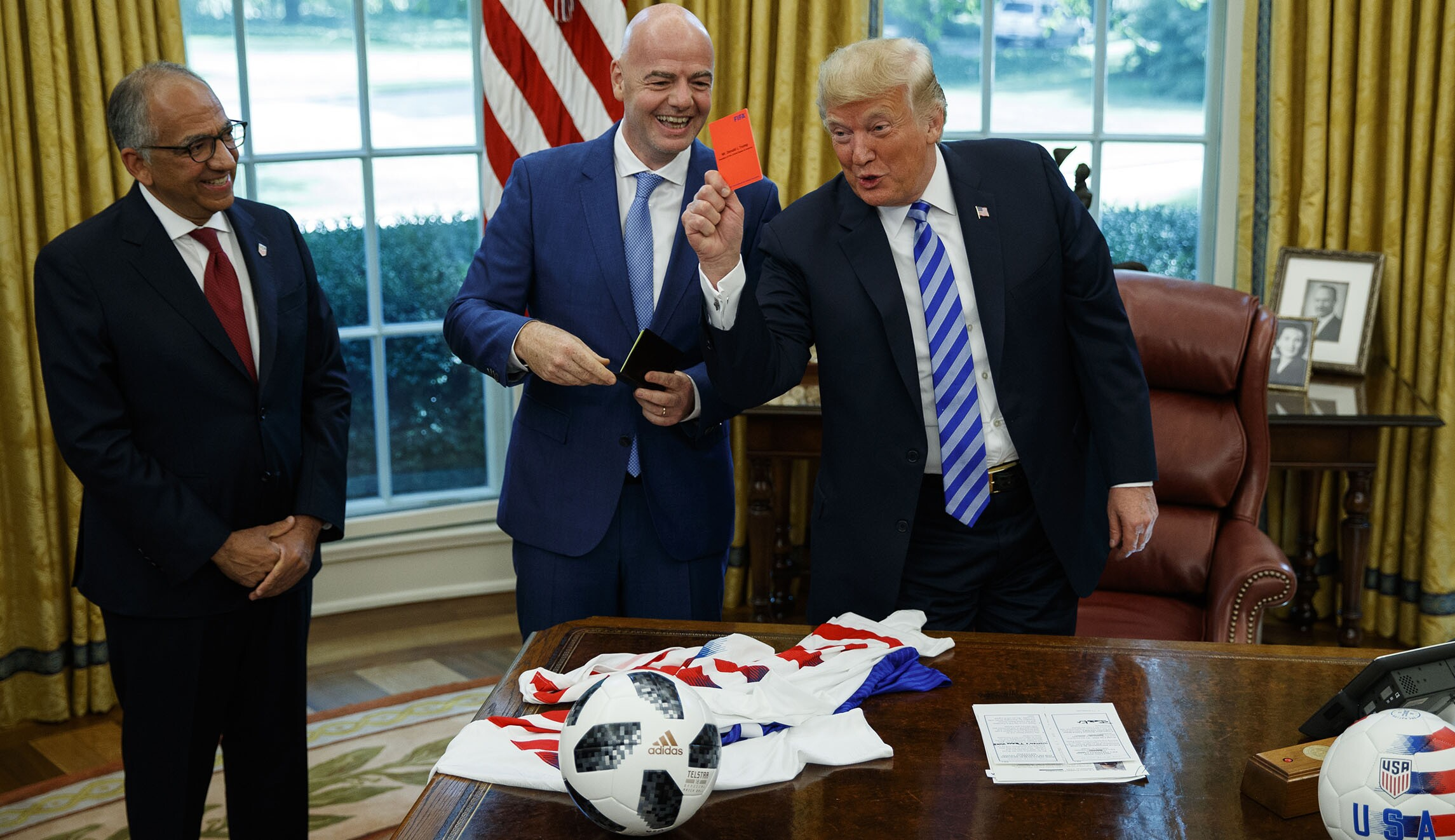 Trump Jokingly Gives Media A Soccer Red Penalty Card