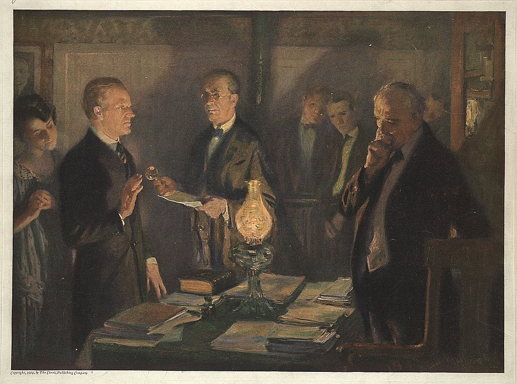 Halftone photomechanical print of Calvin Coolidge taking the oath of office, published in 1924.